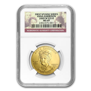 2009-W 1/2 oz Gold Anna Harrison MS-69 NGC