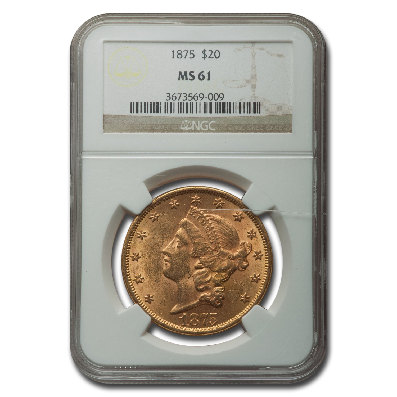 1875 $20 Gold Liberty Double Eagle - MS-61 NGC