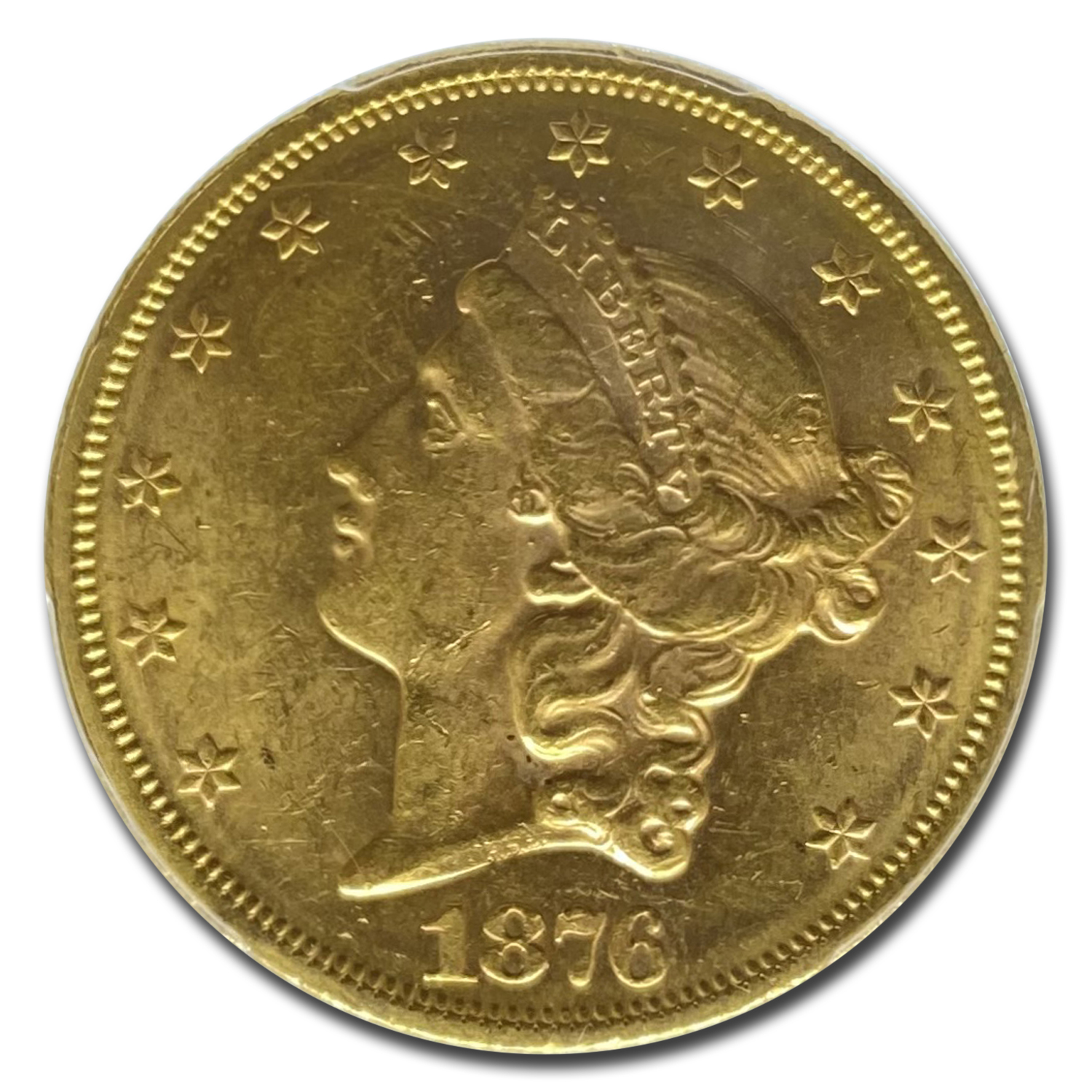 1876 $20 Gold Liberty Double Eagle MS-61 PCGS (OGH)