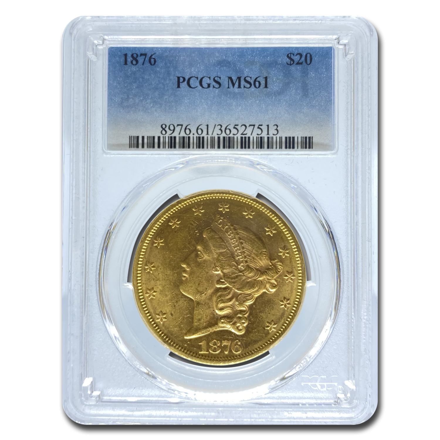 1876 $20 Liberty Gold Double Eagle MS-61 PCGS (OGH)