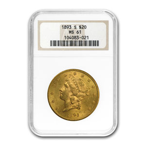 1890s 10-Coin $20 Gold S Mint Liberty Double Eagle Set MS-61 NGC