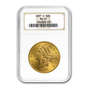 $20 Gold Liberty Double Eagle Date - (1800s S Mint Set) MS-61 NGC