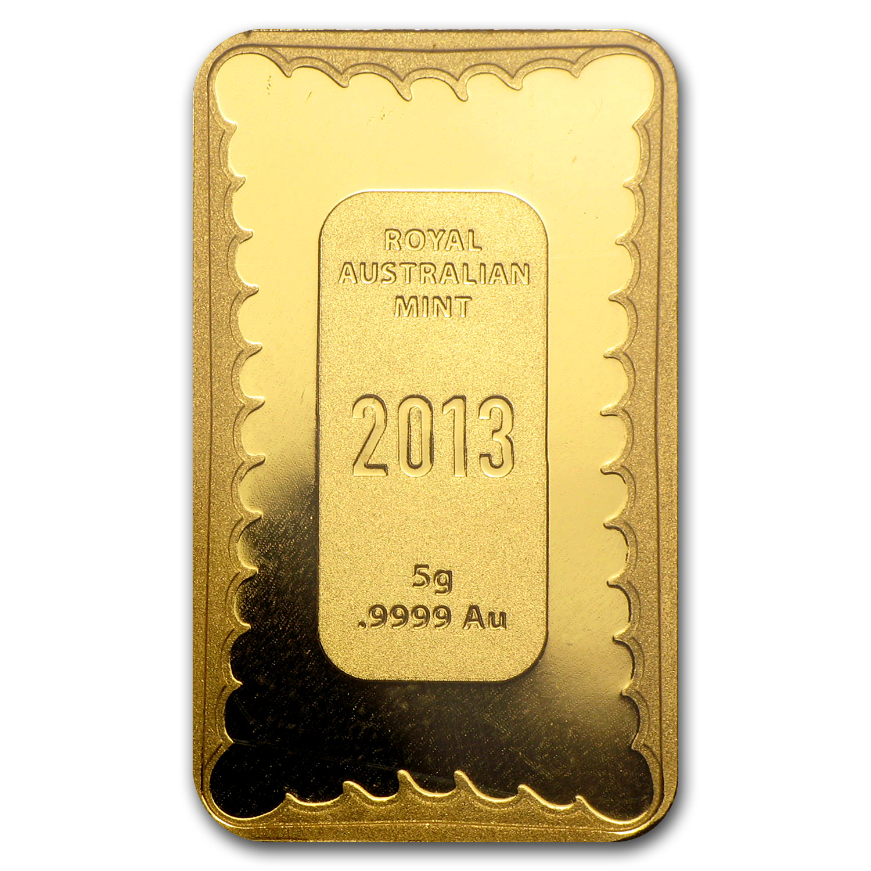 2013 Australia 5 Gram Prf Gold Snake Ingot In Assay