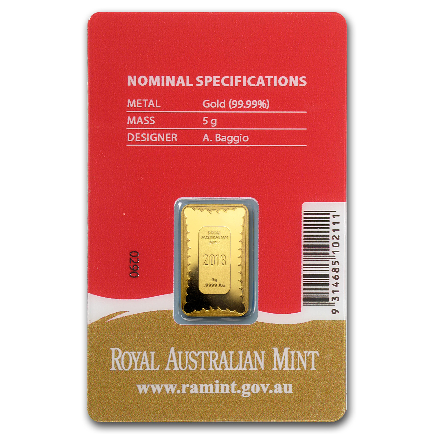 2013 5 Gram Gold Royal Australian Mint Snake Ingot Prf (In Assay)