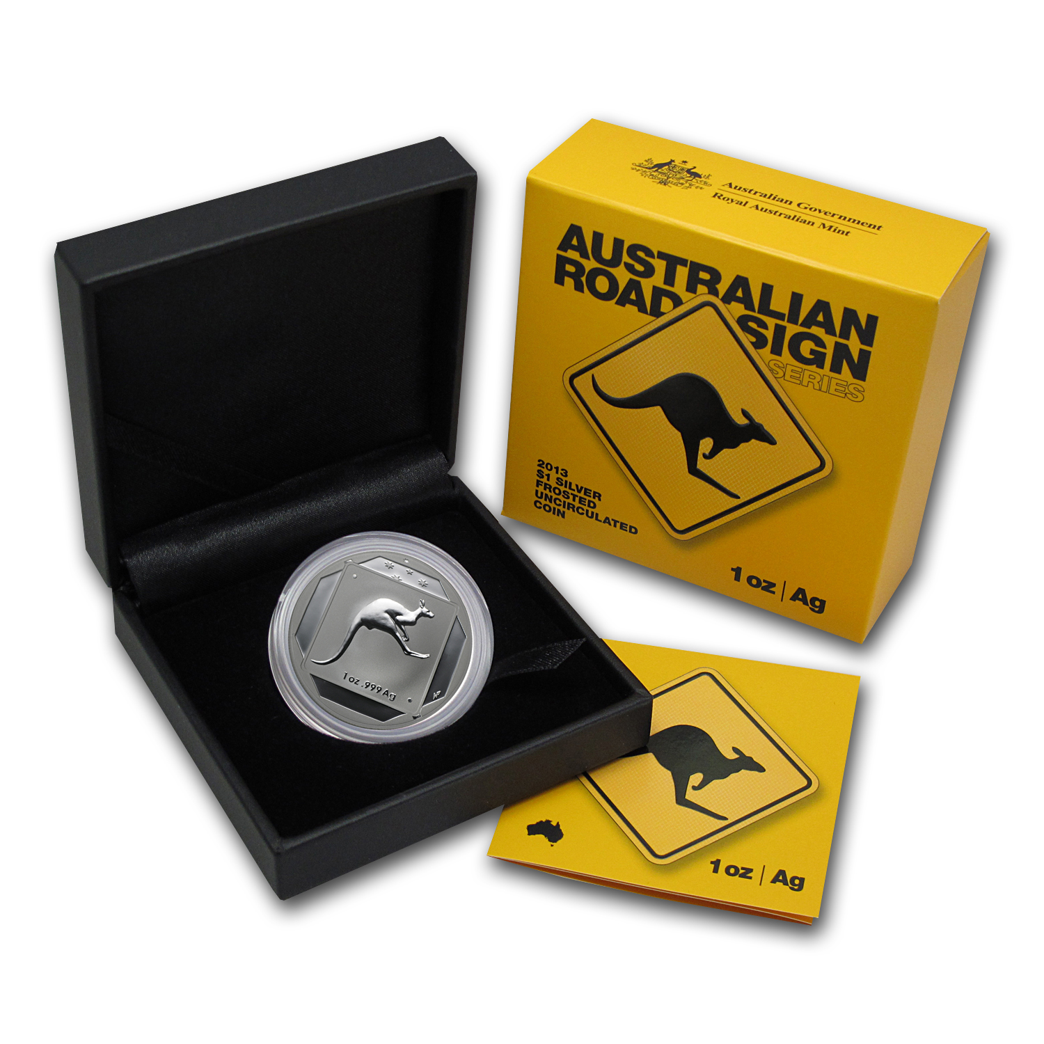 2013 Australia 1 oz Silver Kangaroo Road Sign