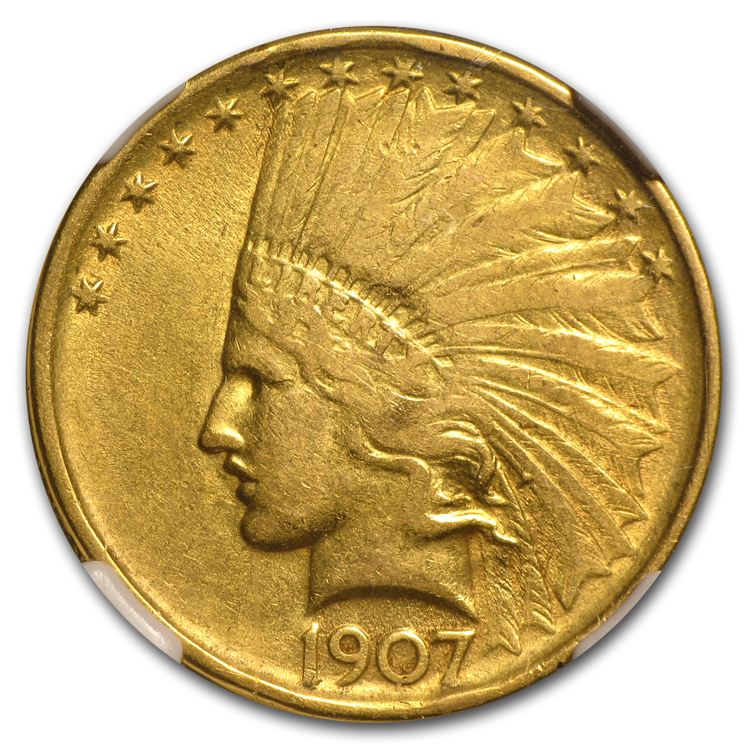 1907 $10 Indian Gold Eagle No Motto VF-30 NGC