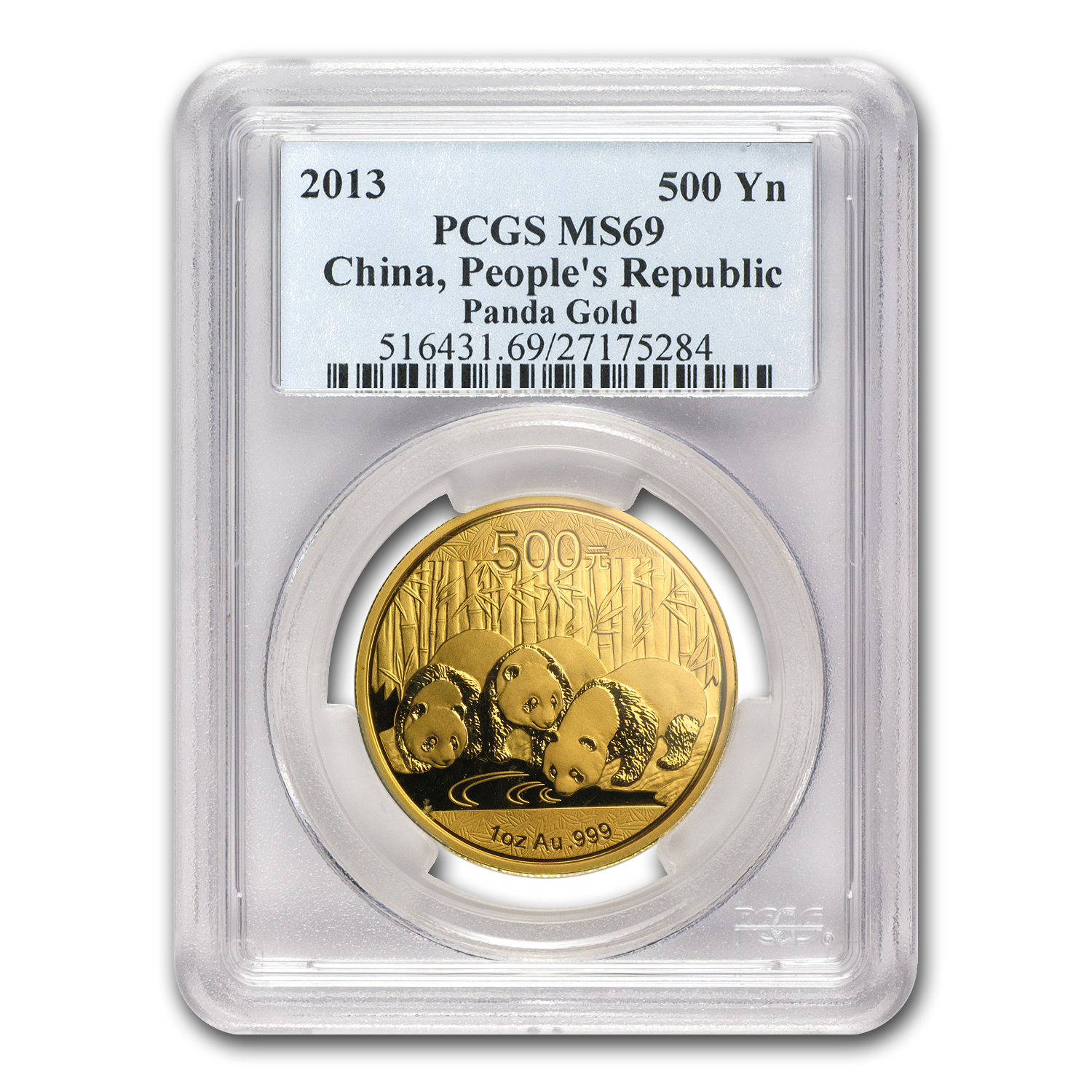 2013 China 1 oz Gold Panda MS-69 PCGS