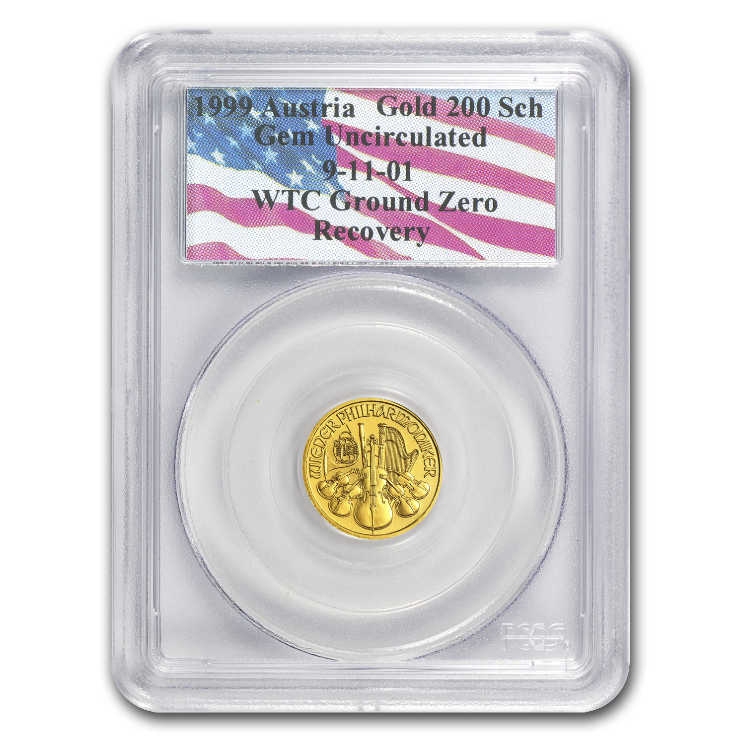 1999 1/10 oz Gold Philharmonic Gem Unc PCGS (World Trade Center)