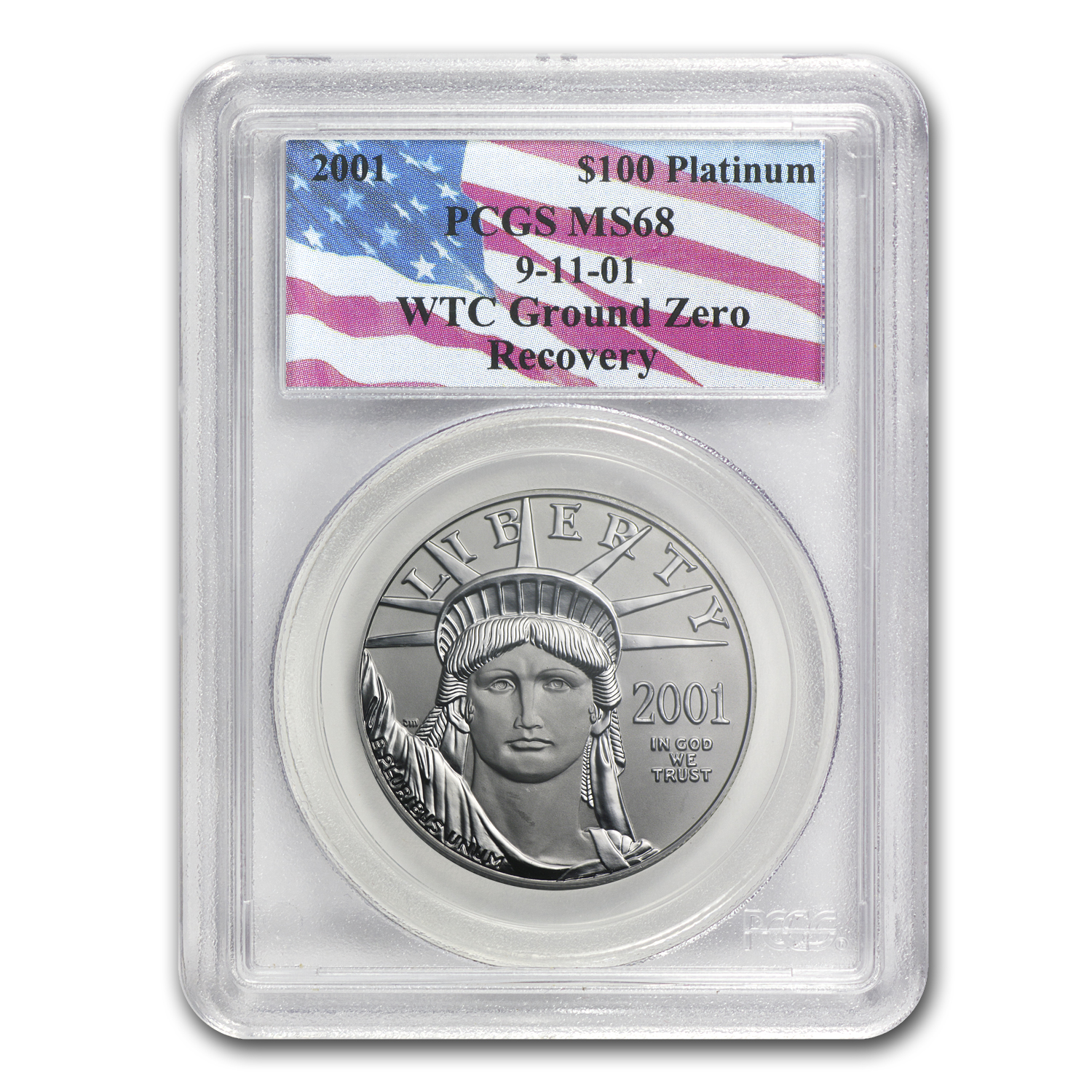 2001 1 oz Platinum American Eagle MS-68 PCGS (World Trade Center)