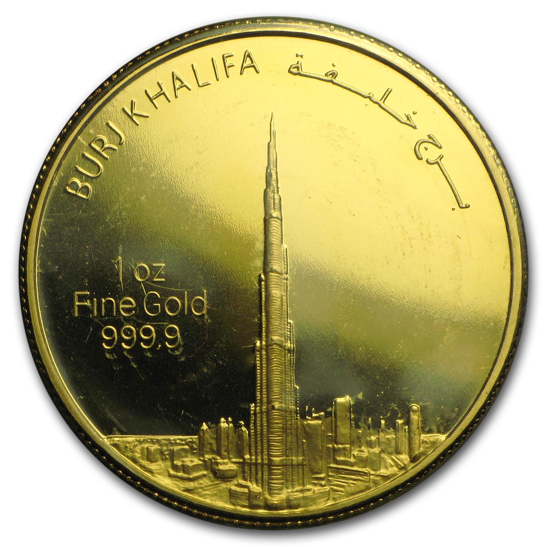 1 Oz Gold Round Uae 2012 Dubai Gold Burj Khalifa In