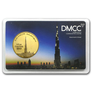 1/2 oz Gold Rounds - UAE 2012 Dubai Gold Burj Khalifa (In Assay)