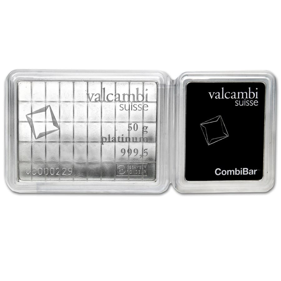 50 x 1 gram Platinum CombiBar™ - Valcambi (In Assay)