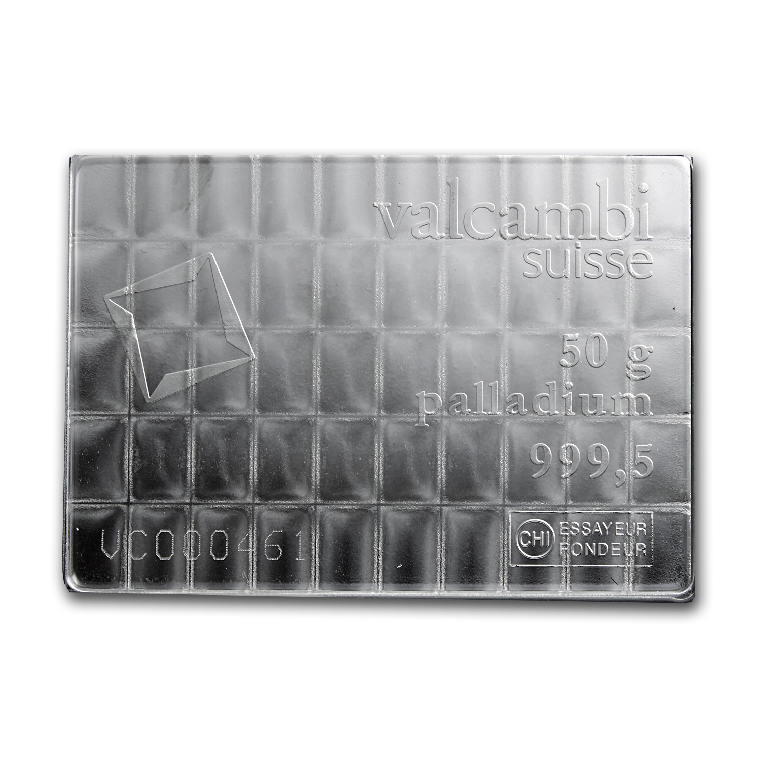 50x 1 gram Palladium CombiBar™ - Valcambi Suisse (In Assay)
