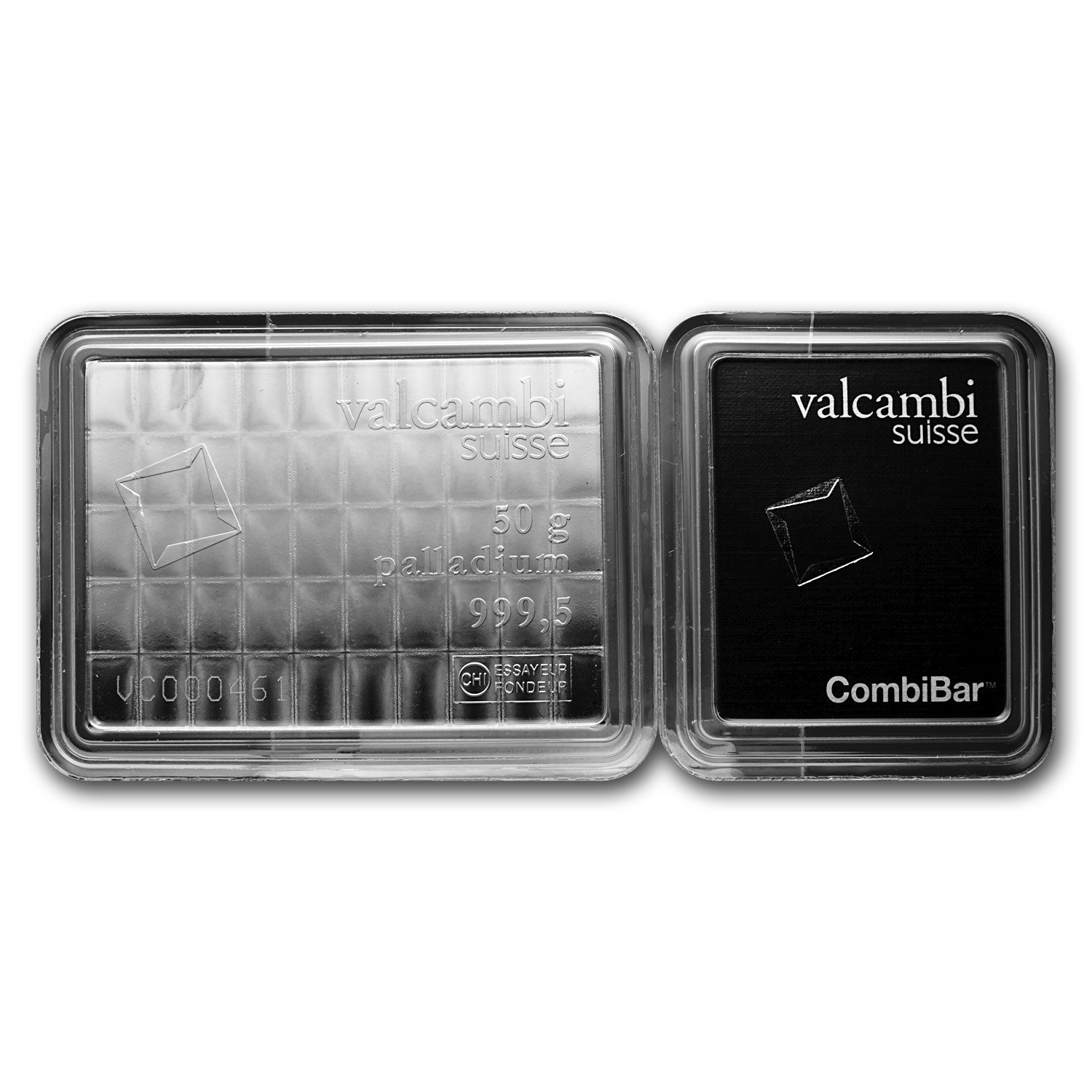 50x 1 gram Valcambi Palladium CombiBar™ (In Assay)