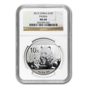 2012 China 1 oz Silver Panda MS-68 NGC