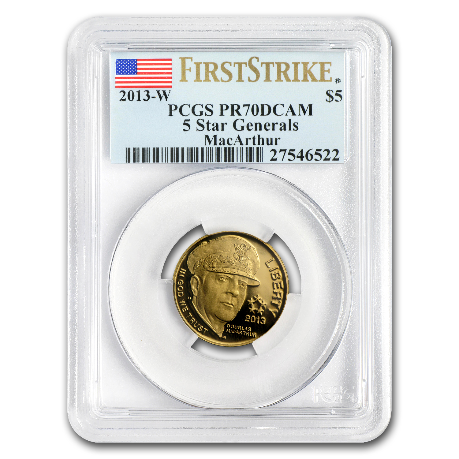 2013-W Five Star General - $5 Gold Commem - PR-70 DCAM PCGS (FS)