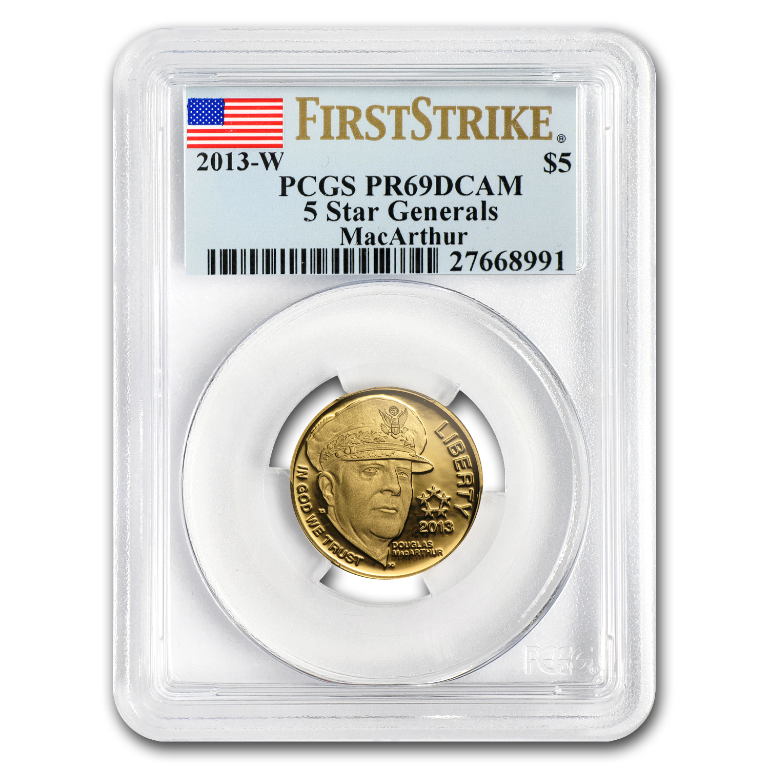 2013-W Gold $5 Commem Five Star General PR-69 PCGS (FS)