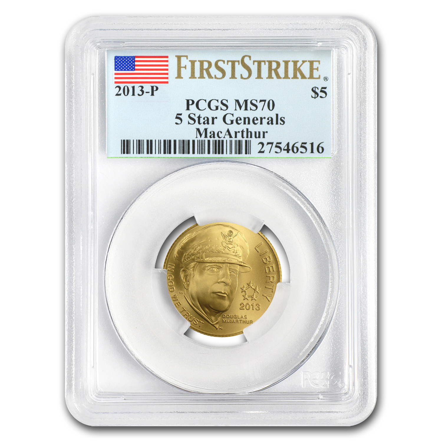 2013-P Gold $5 Commem Five Star General MS-70 PCGS (FS)