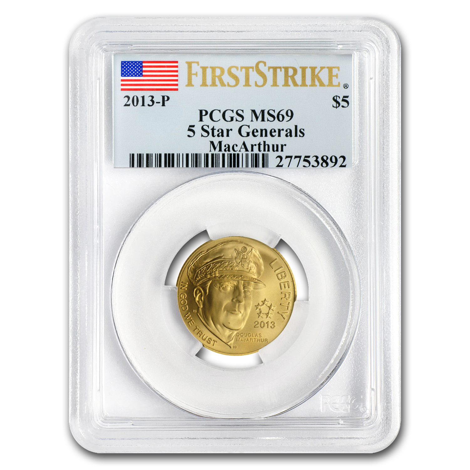 2013-P Five Star General - $5 Gold Commem - MS-69 PCGS (FS)