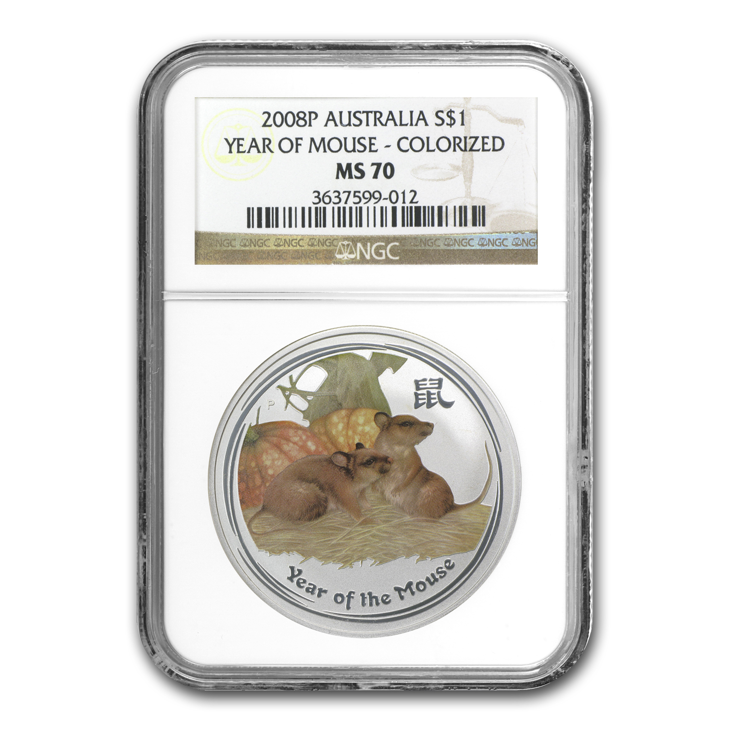 2008 Australia 1 oz Silver Mouse MS-70 NGC (SII, Colorized)