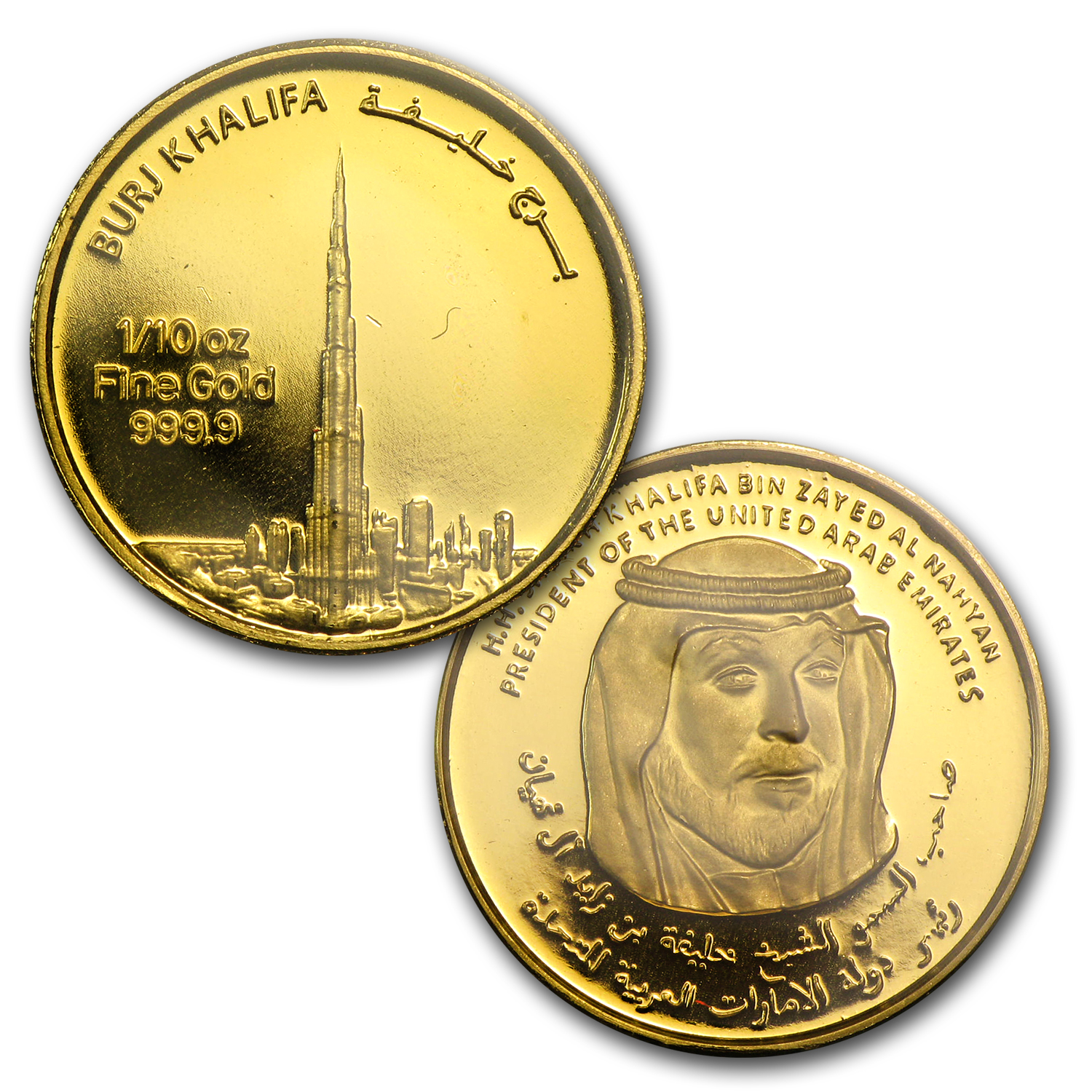 (4 pc) Gold Rounds - UAE 2012 Dubai Gold Burj Khalifa (1.85 oz)