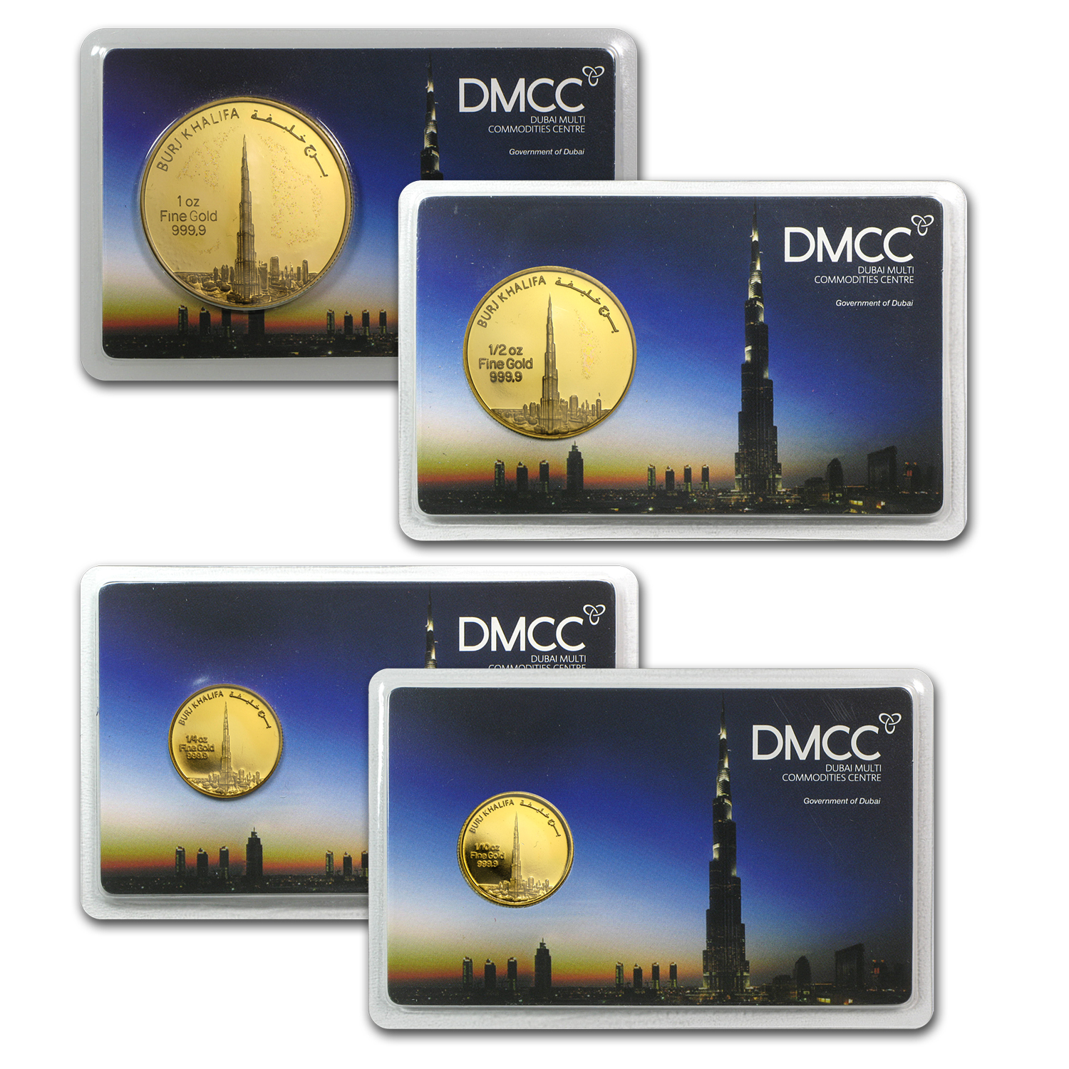1.85 oz 4-Coin UAE 2012 Dubai Gold Burj Khalifa Set (In Assay)