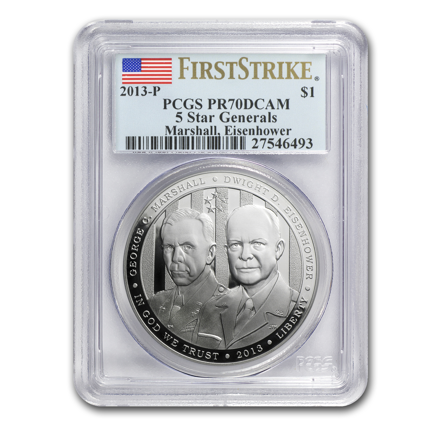 2013-P Five Star General $1 Silver Commem PR-70 DCAM PCGS (FS)