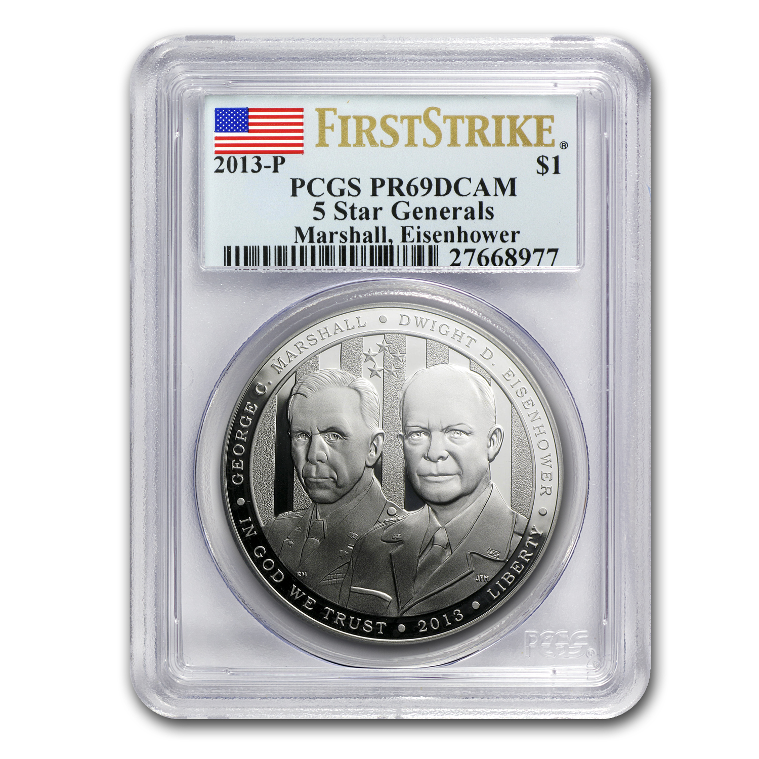 2013-P Five Star General $1 Silver Commem PR-69 PCGS (FS)