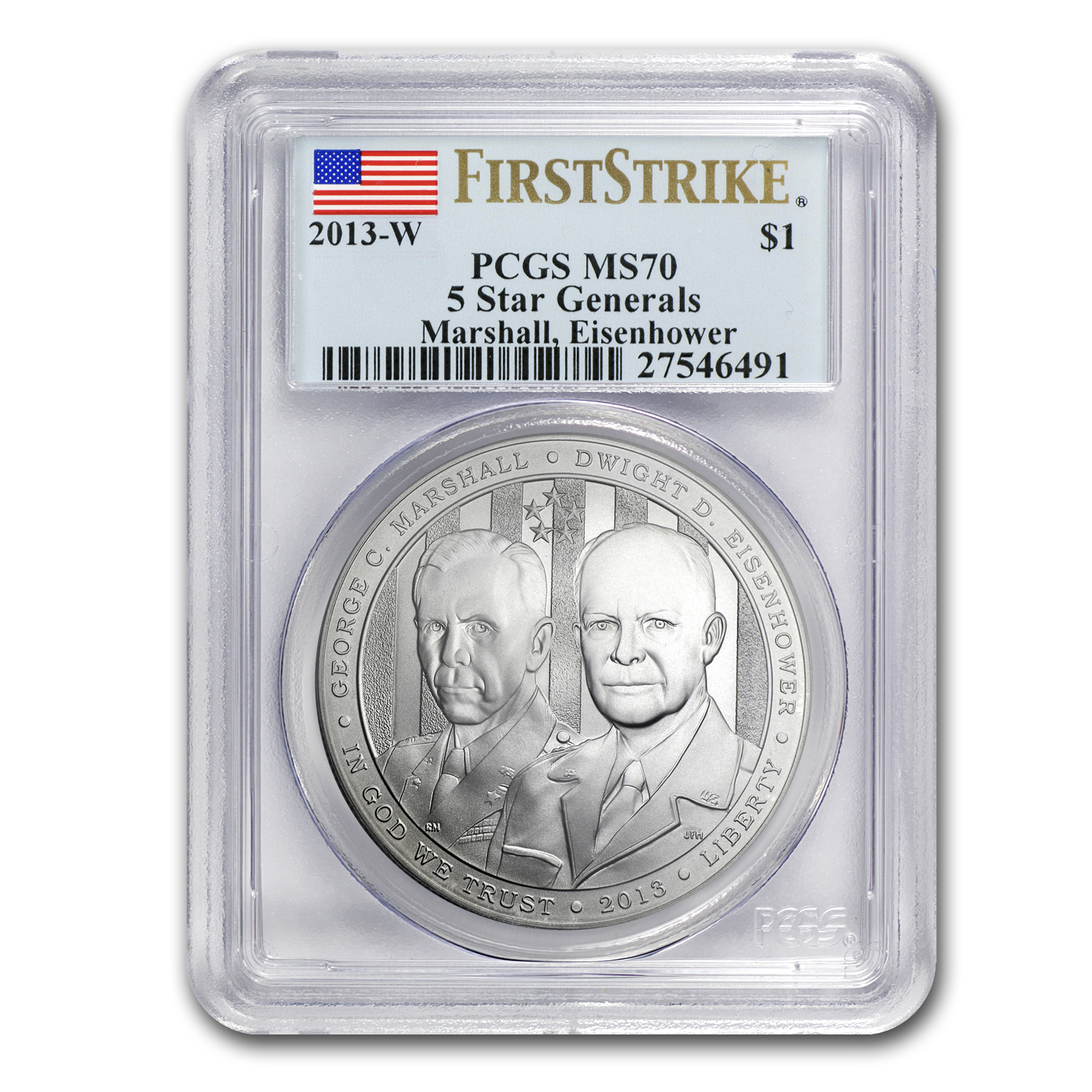 2013-W Five Star General $1 Silver Commemorative MS-70 PCGS (FS)