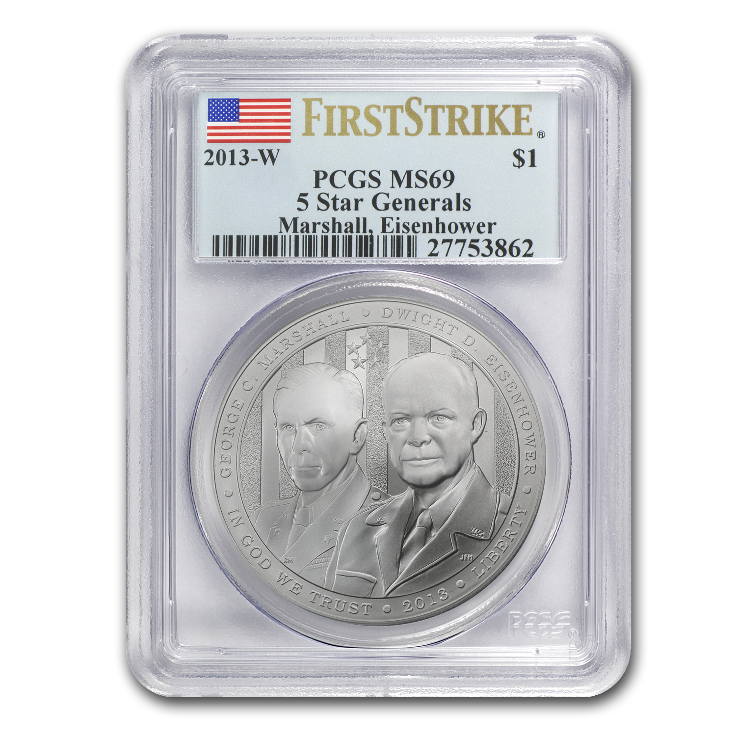 2013-W Five Star General $1 Silver Commem MS-69 PCGS (FS)