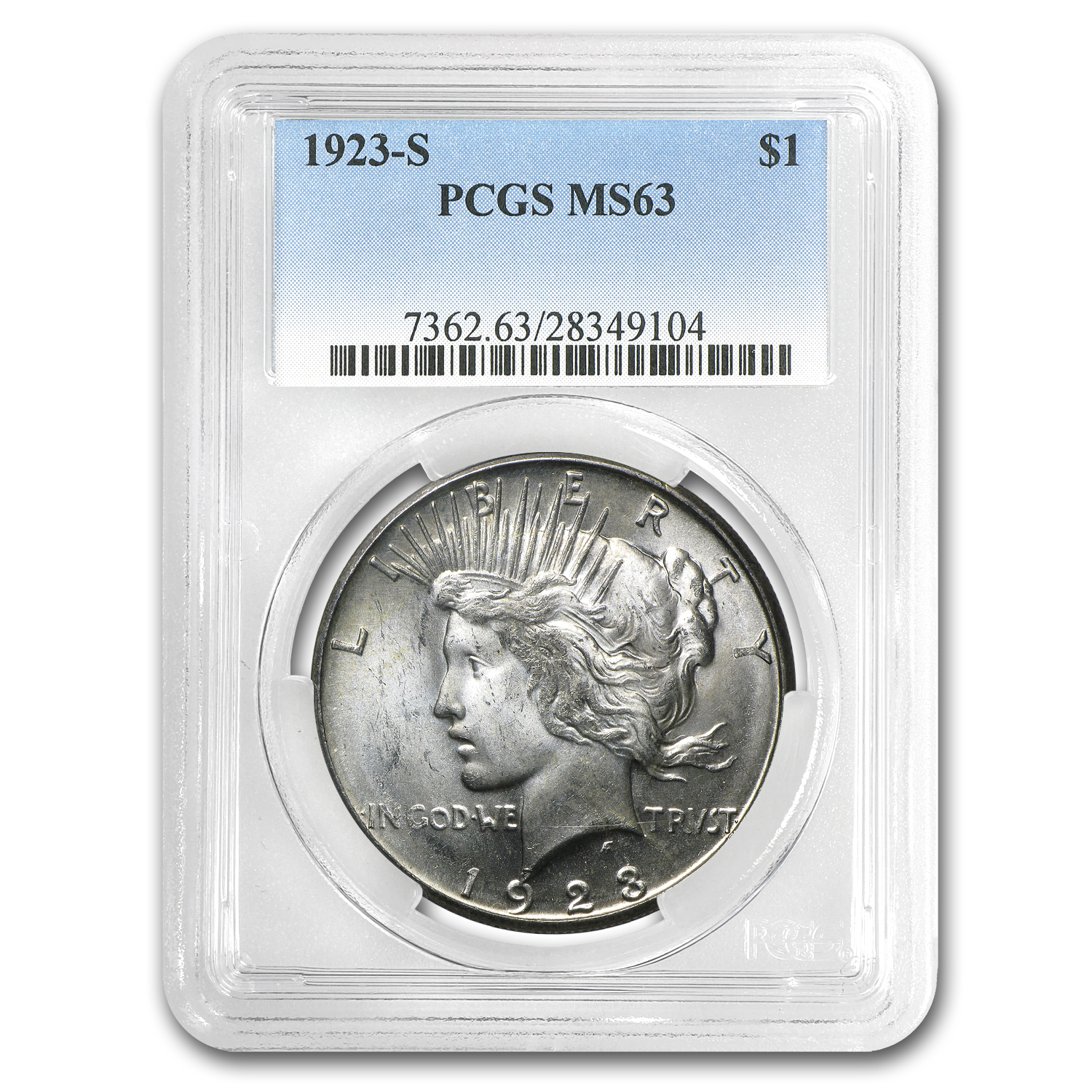 1923-S Peace Dollar MS-63 PCGS