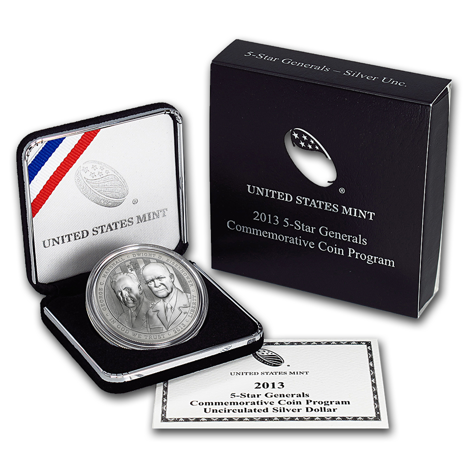 2013-W Five Star General $1 Silver Commem BU (w/Box & COA)