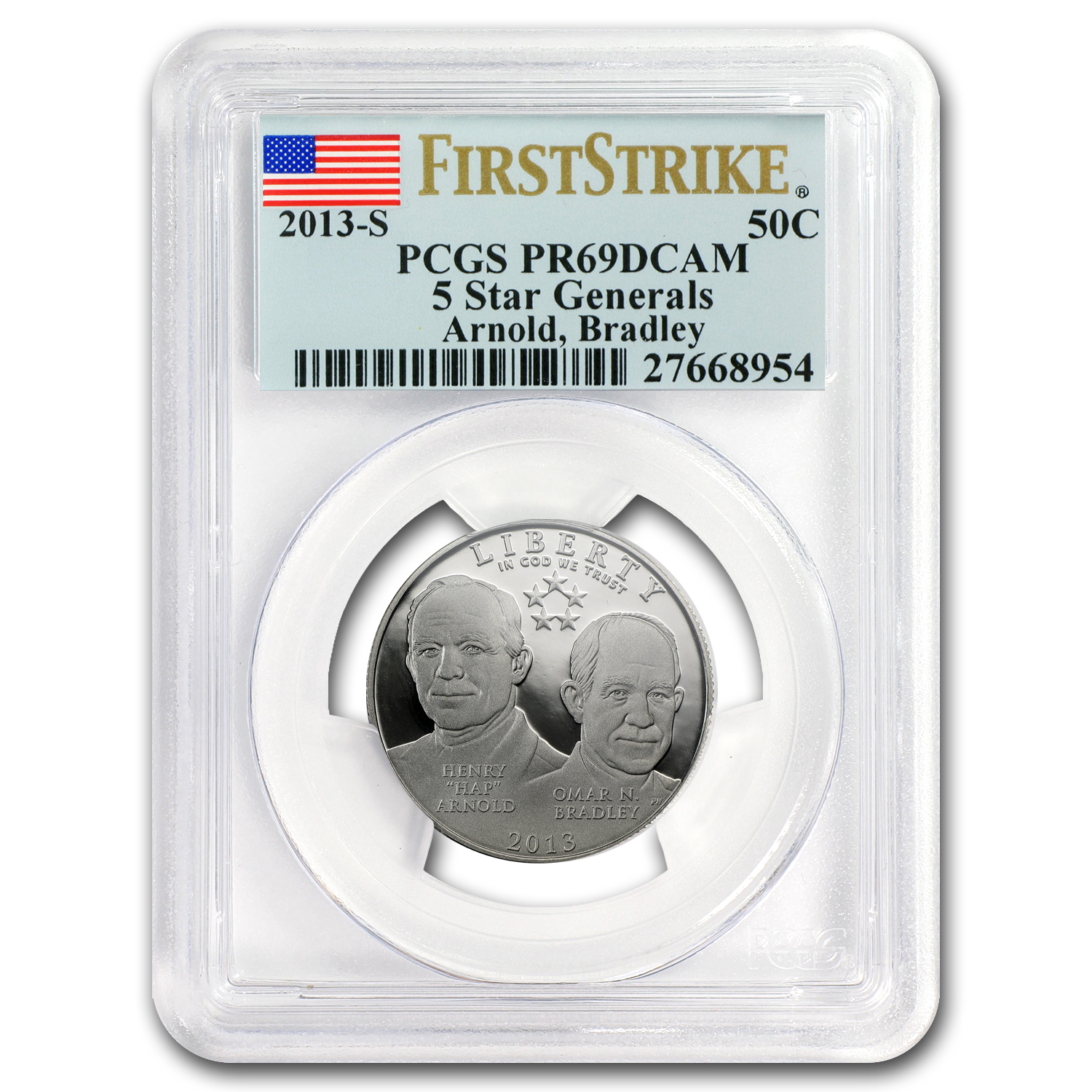 2013-S 5 Star General Half Dollar Clad Commem PR-69 DCAM PCGS FS