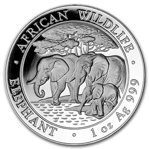 2013 Somalia 1 oz Silver Elephant (20-Coin MintDirect® Tube)