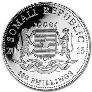 2013 1 oz Silver Somalian Elephant (20-Coin MintDirect® Tube)