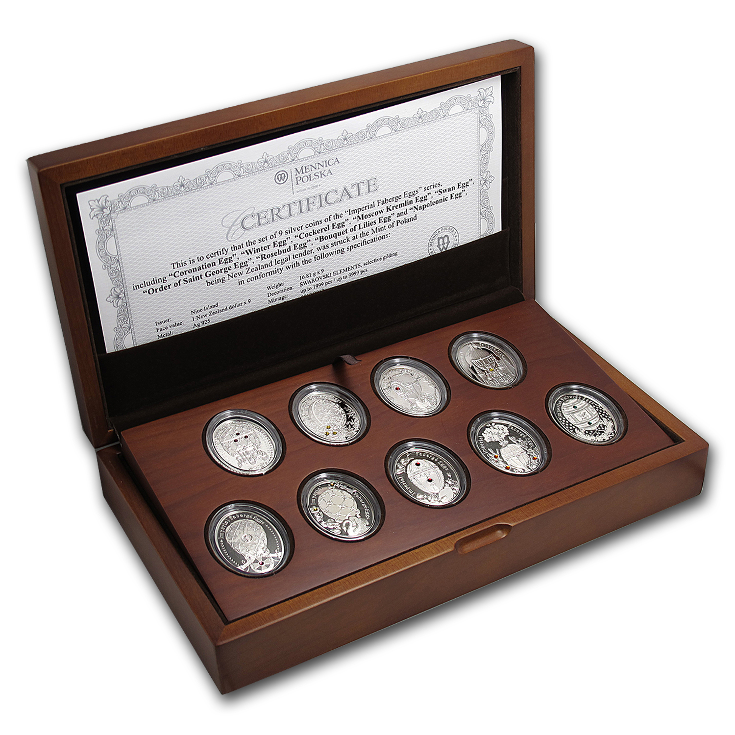 Niue Proof Silver $1 Imperial Faberge Eggs Series - 9 Coin Set