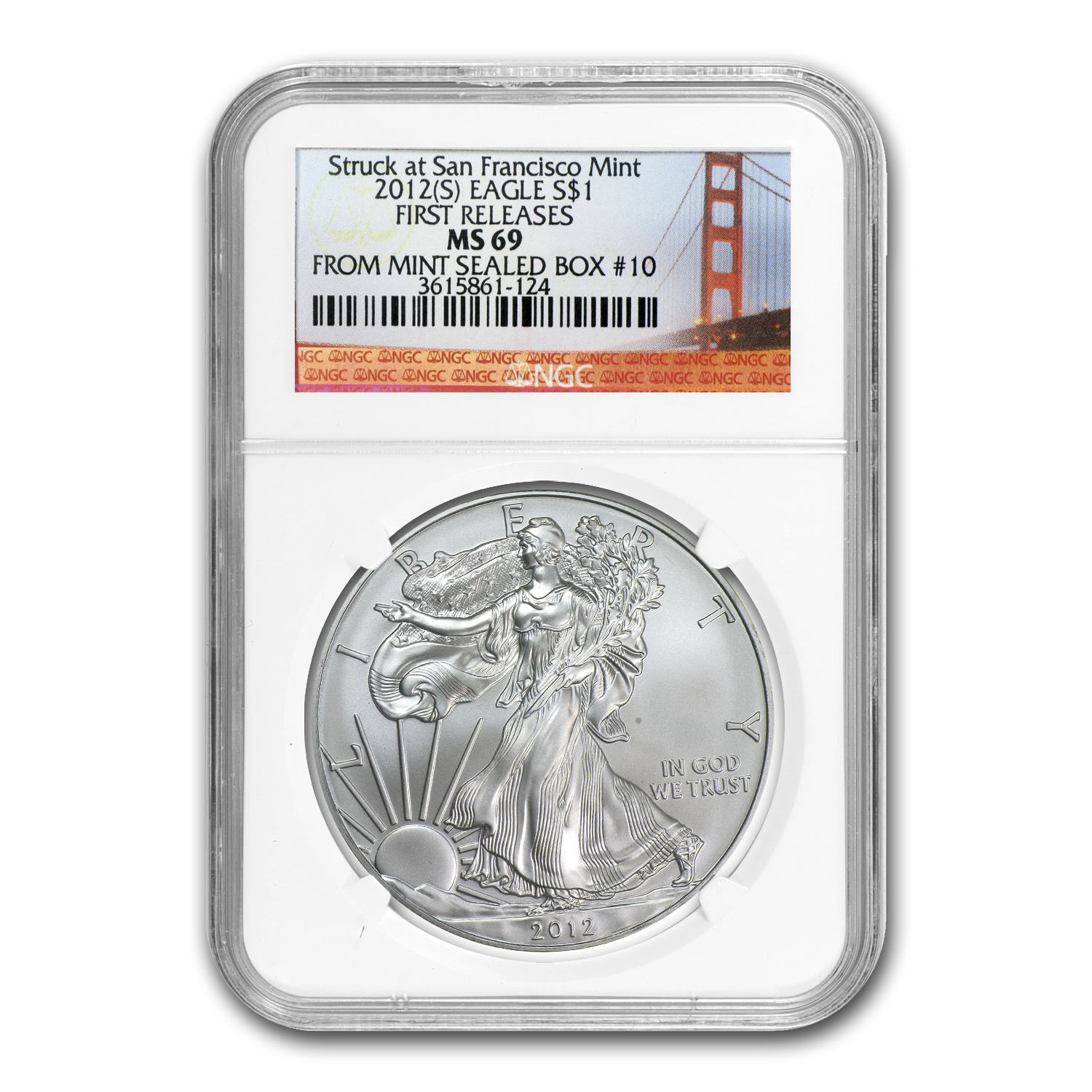 2012 (S) Silver Eagle MS-69 NGC (FR, Bridge Label, Box #10)