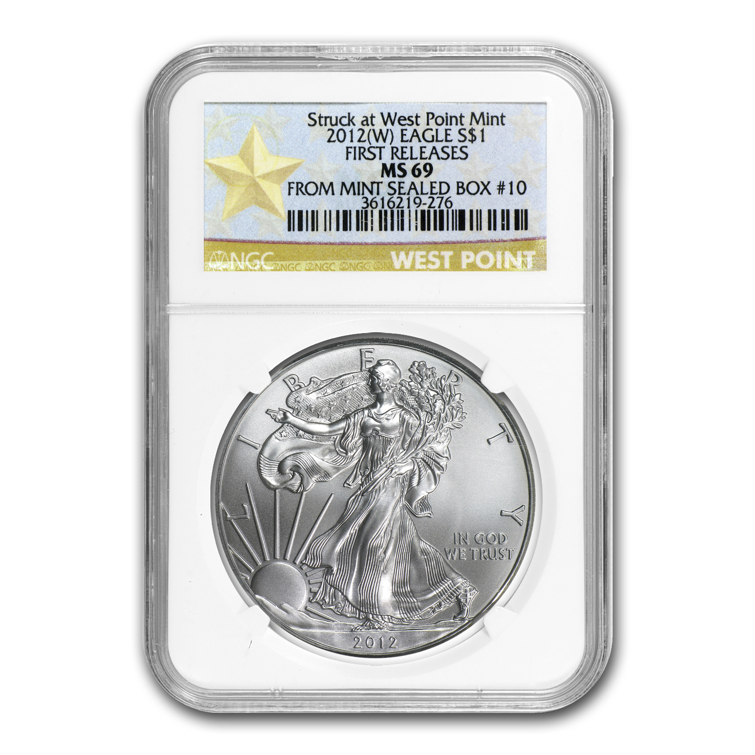 2012 (W) Silver Eagle MS-69 NGC (FR, West Point Label, Box #10)