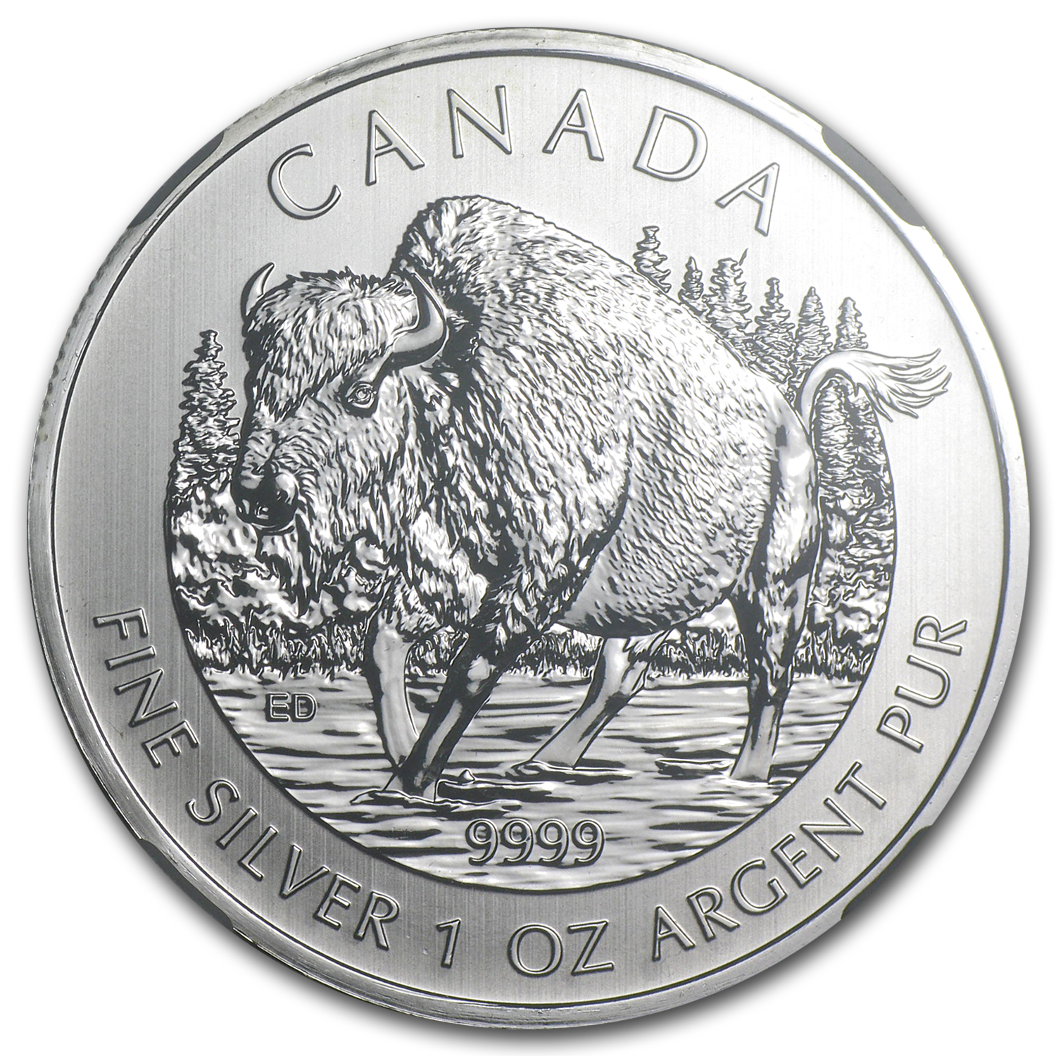 2013 1 oz Canadian Wildlife Series Wood Bison MS-69 NGC (ER)