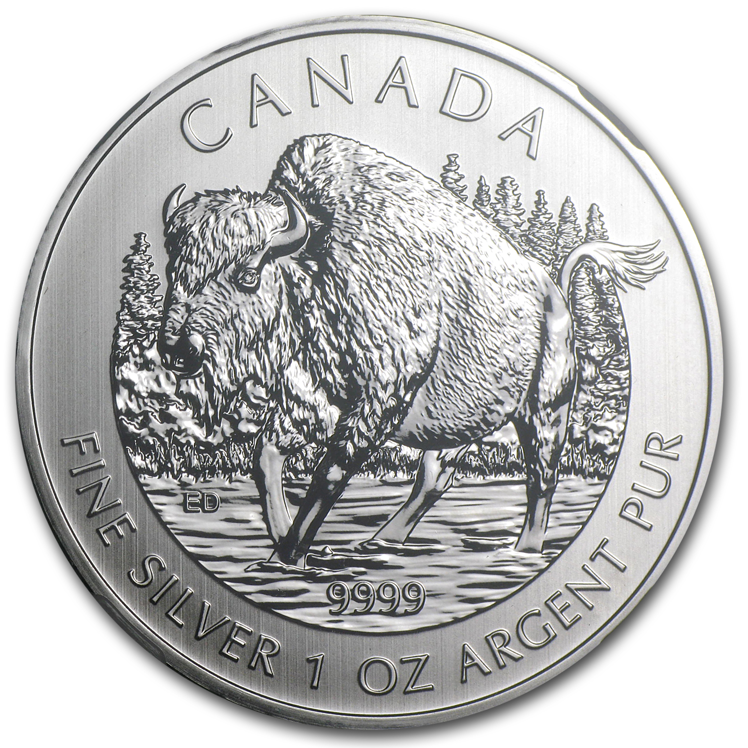 2013 1 oz Silver Canadian Wildlife Series Wood Bison MS-68 NGC