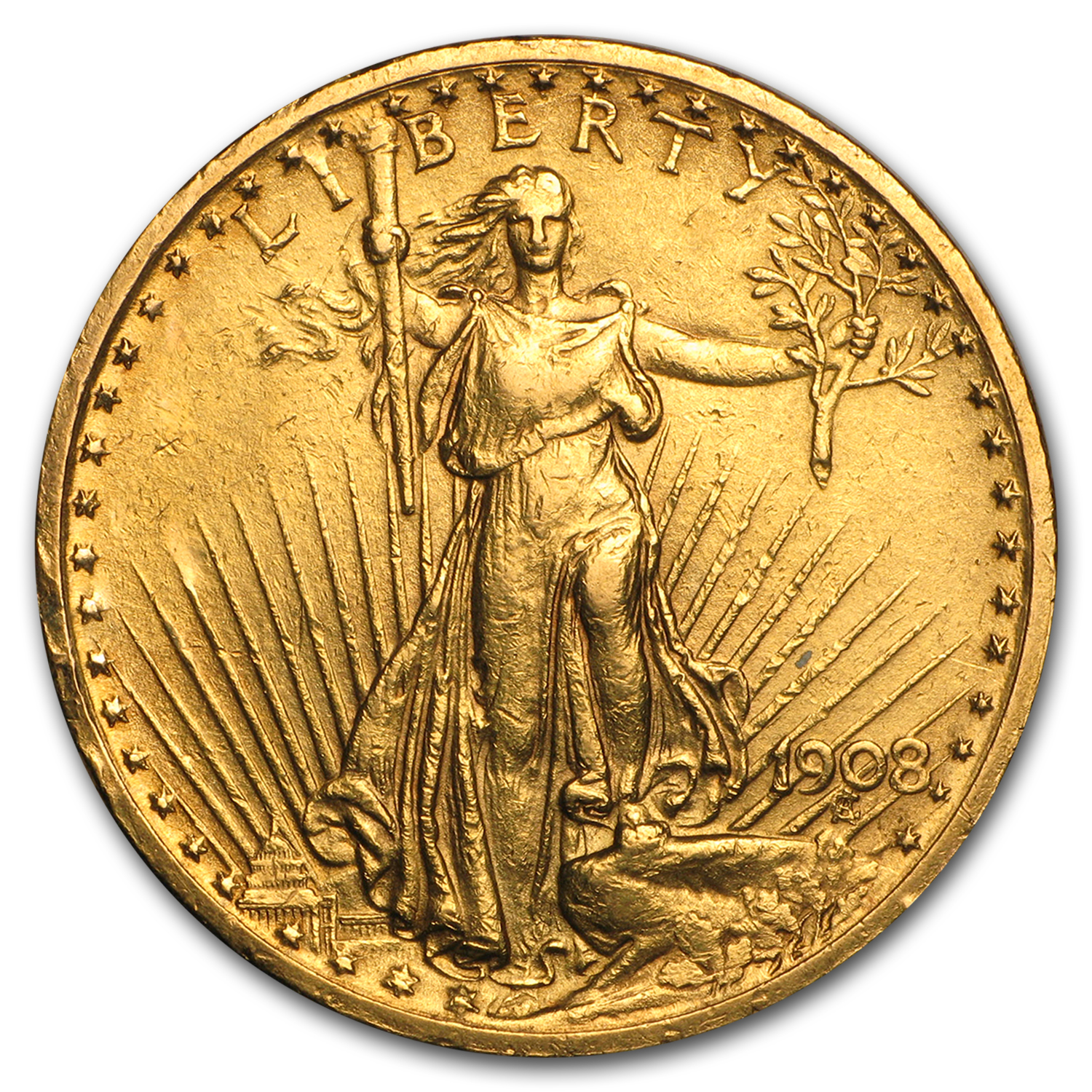 1908 $20 St. Gaudens Gold Double Eagle w/Motto (Cleaned)