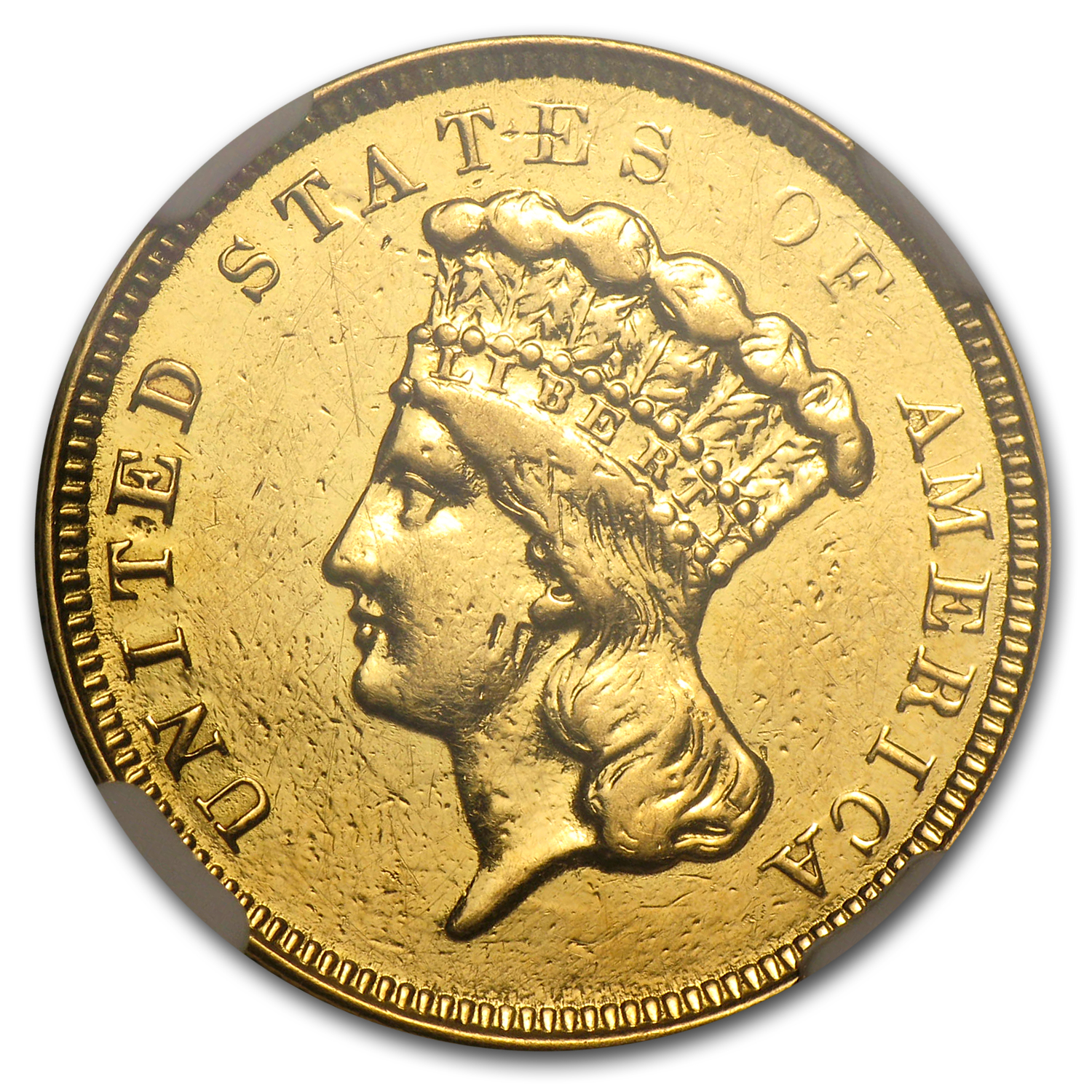 1854-O $3 Gold Princess - AU Details - NGC - (Polished)