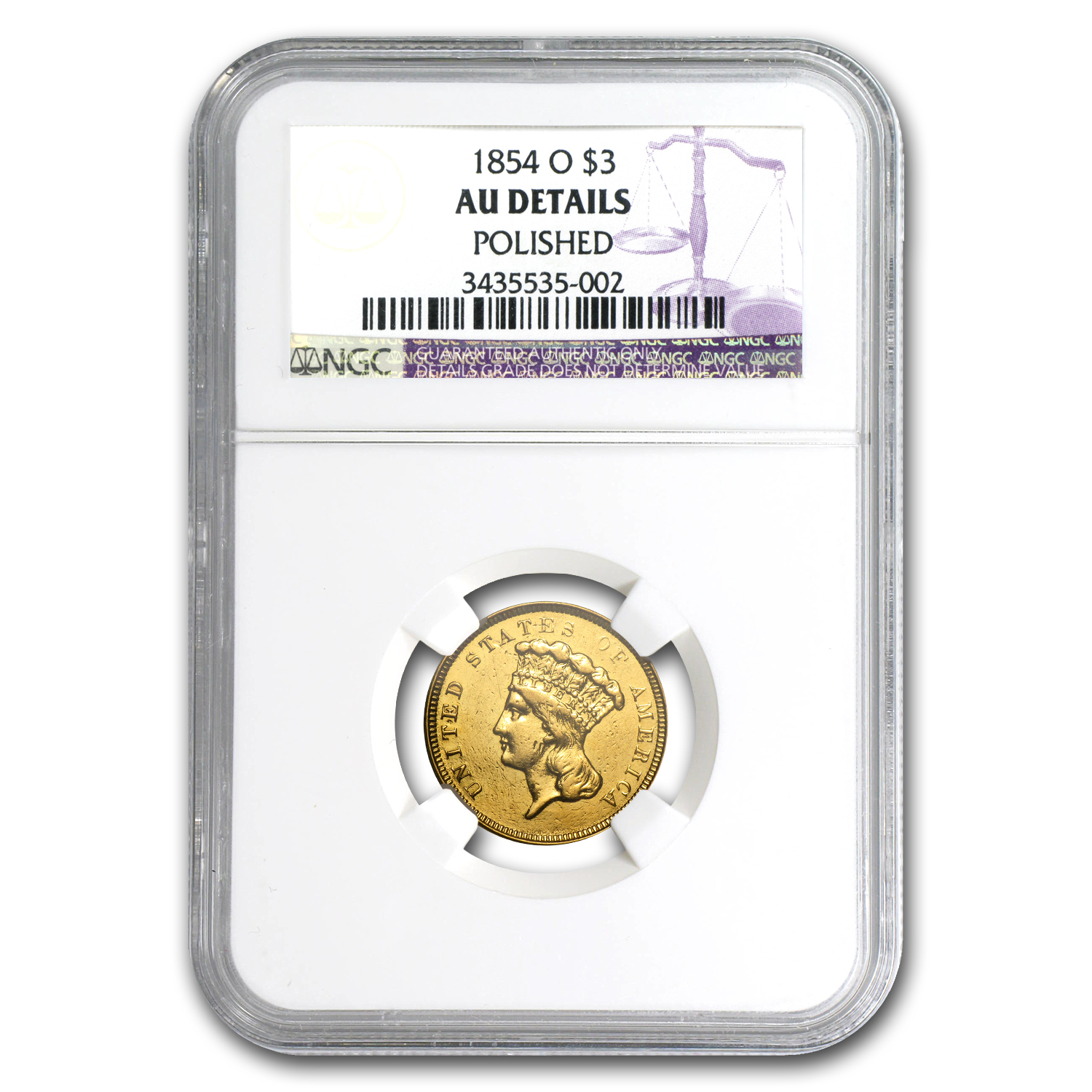1854-O $3 Gold Princess AU Details NGC (Polished)