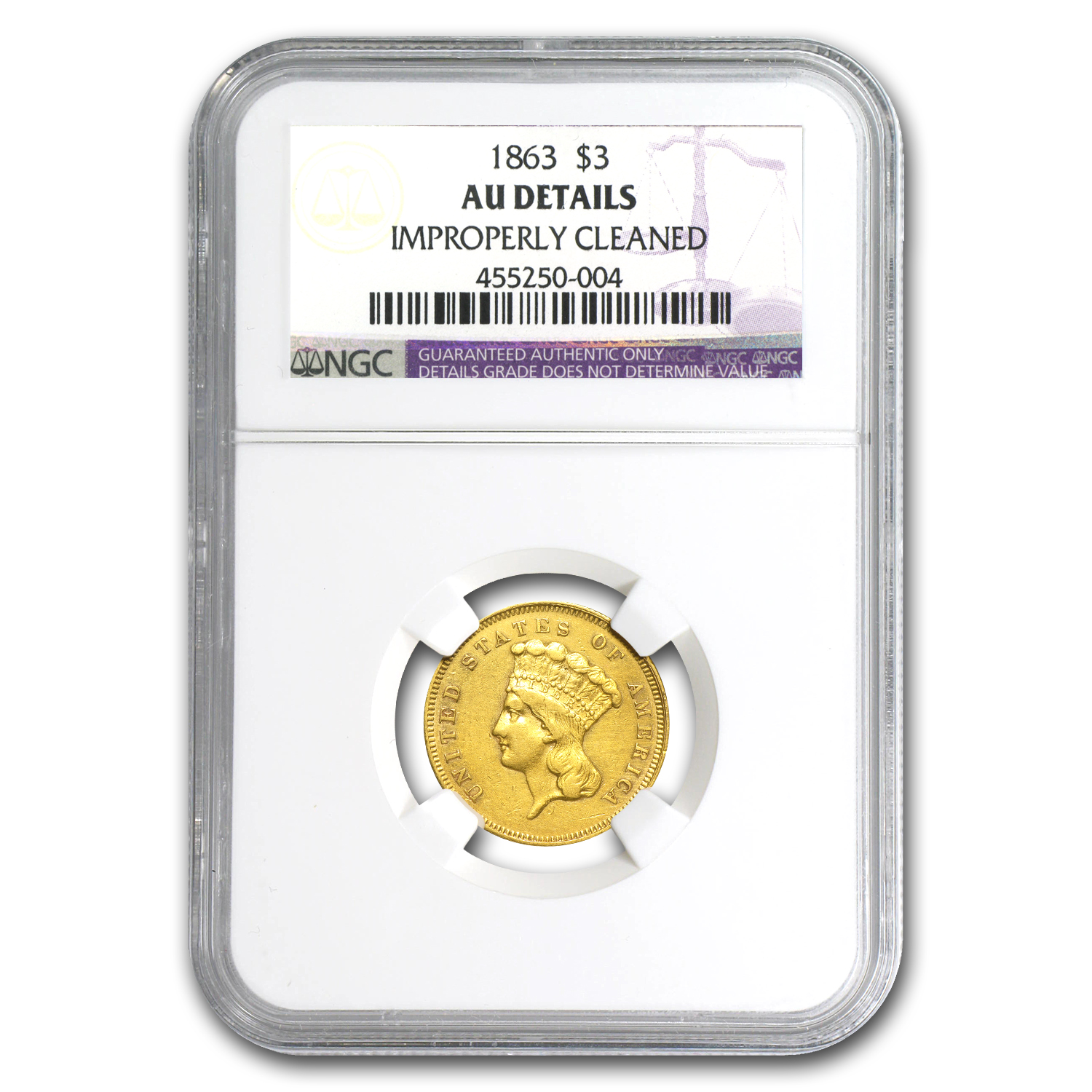 1863 $3 Gold Princess AU Details NGC (Cleaned)