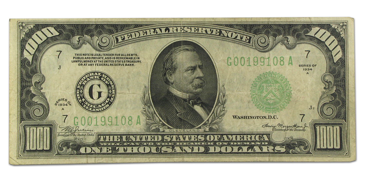 1934-A (G-Chicago) $1,000 FRN PCGS (Very Fine) 20