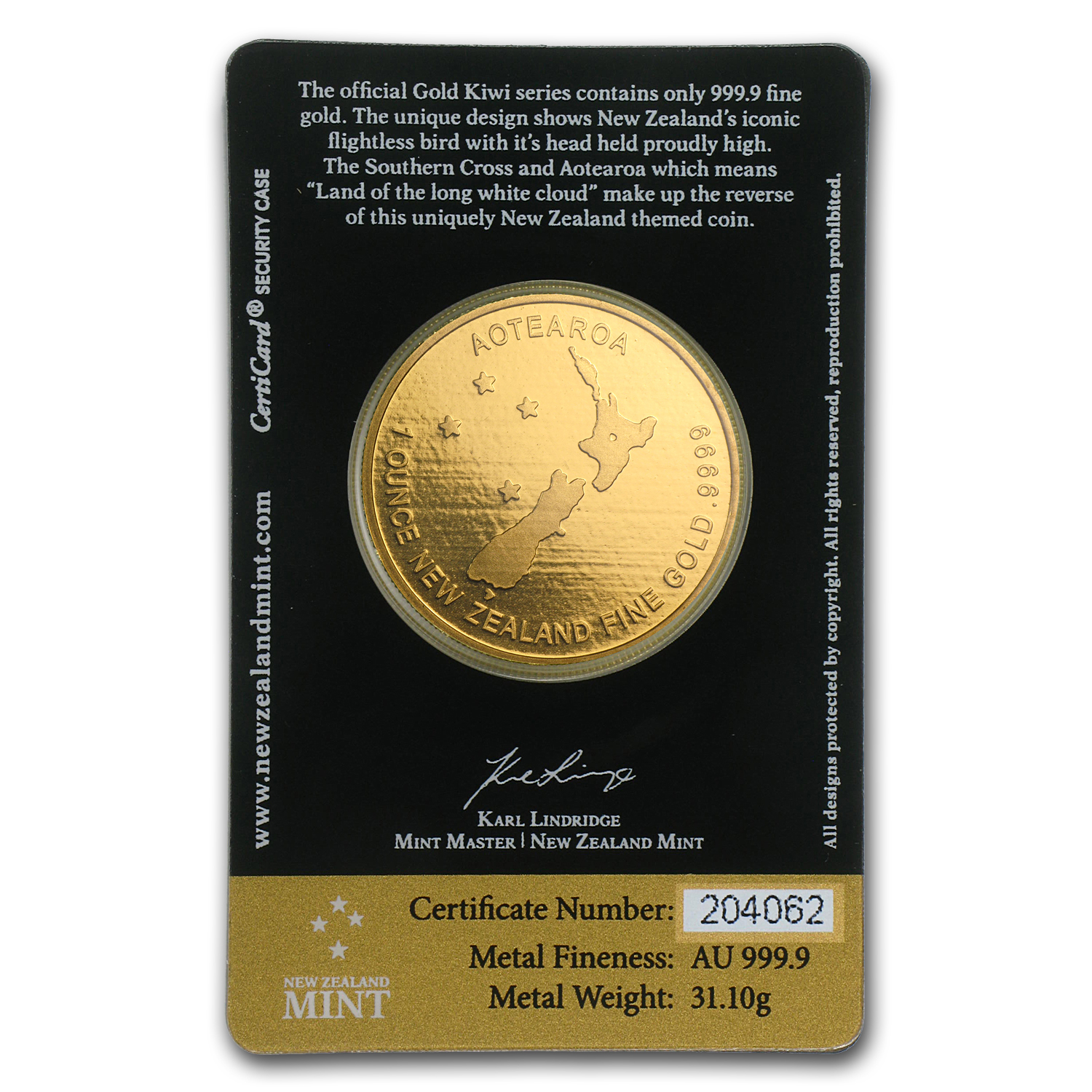 1 oz New Zealand Gold .9999 Kiwi (In Black Assay Card)
