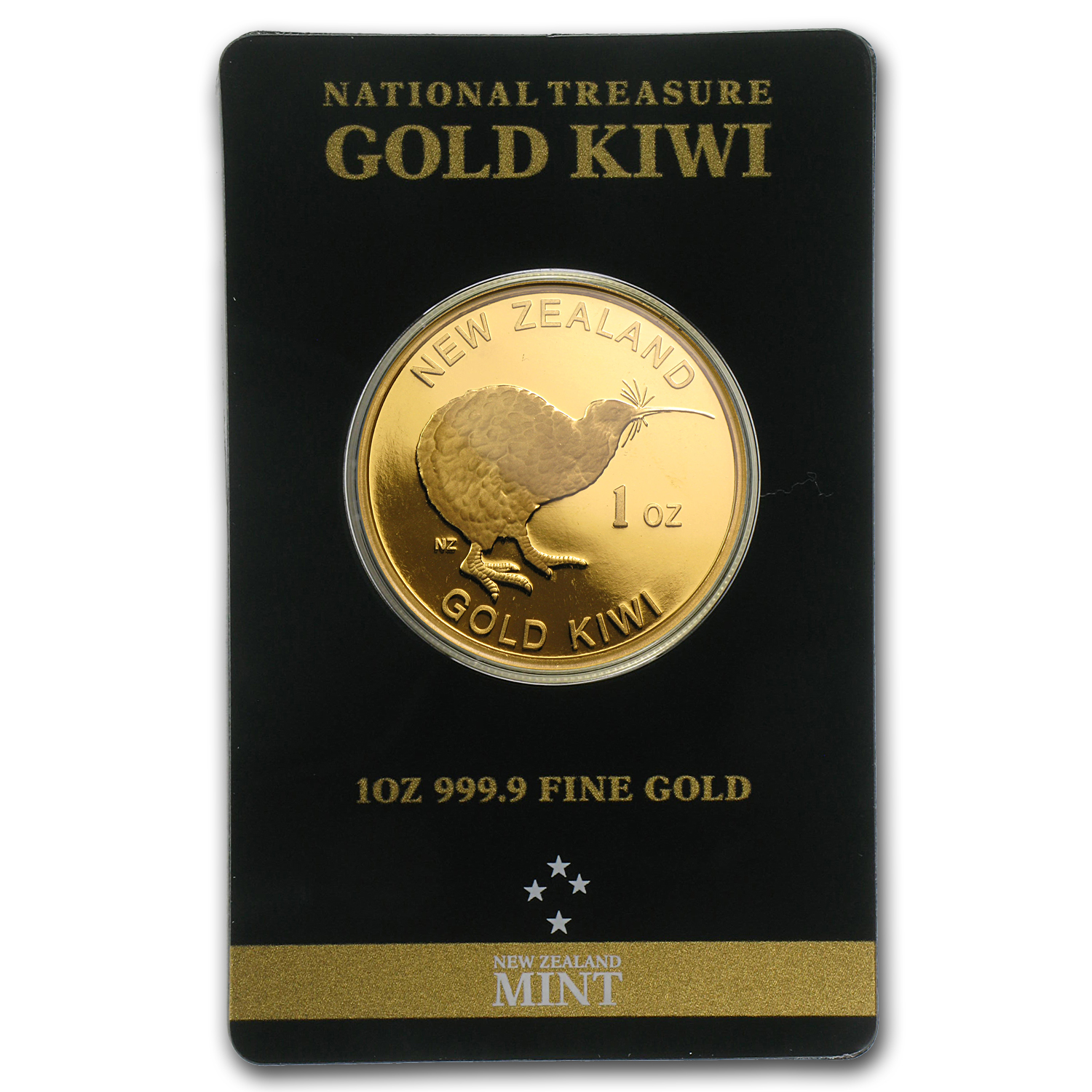 1 oz Gold New Zealand .9999 Kiwi (In Black Assay Card)