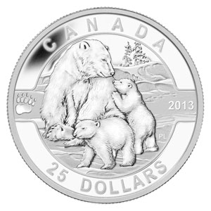 2013 Canada 1 oz Silver $25 The Polar Bear Family