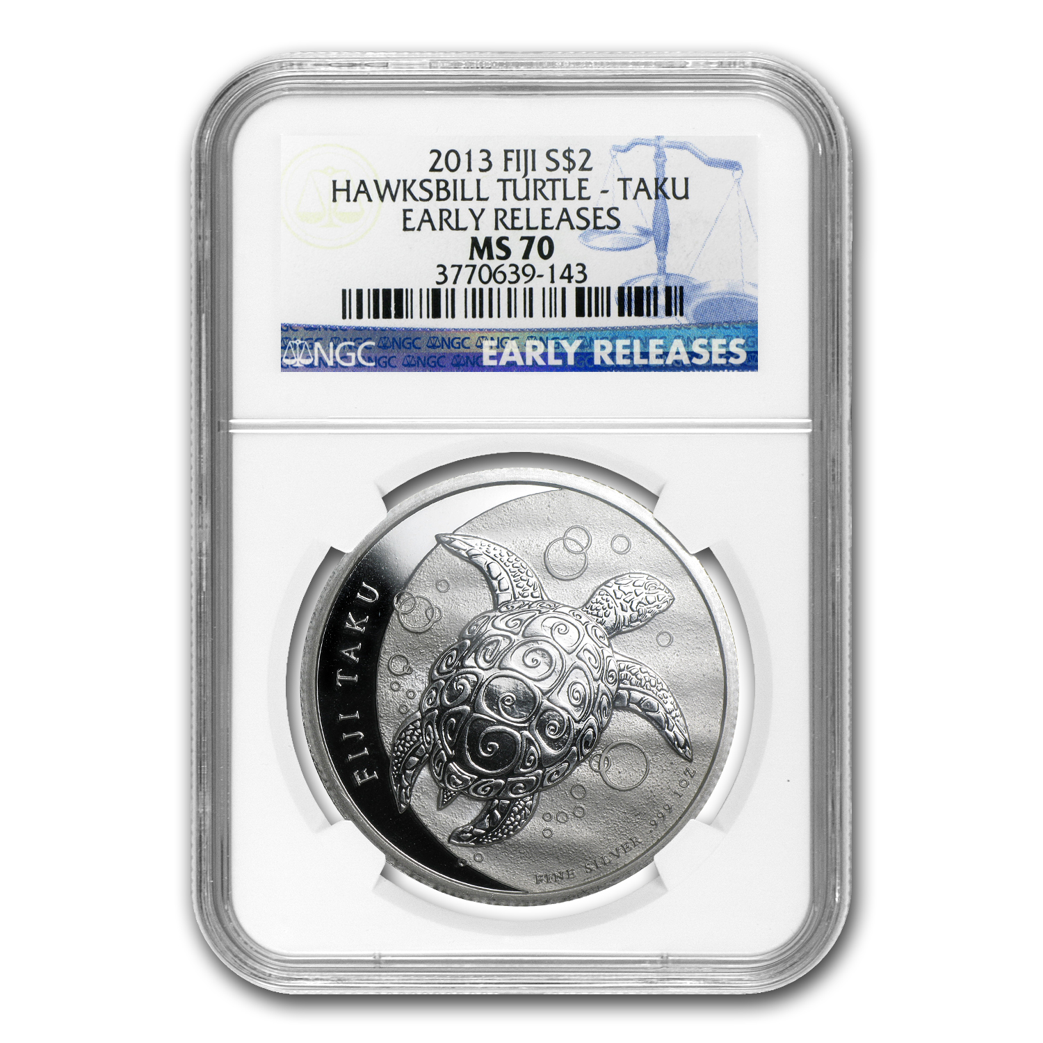 2013 1 oz Silver $2 Fiji Taku MS-70 NGC Early Release