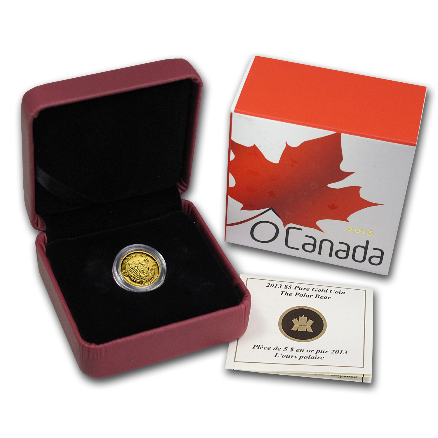 2013 Canada 1/10 oz Proof Gold $5 The Polar Bear